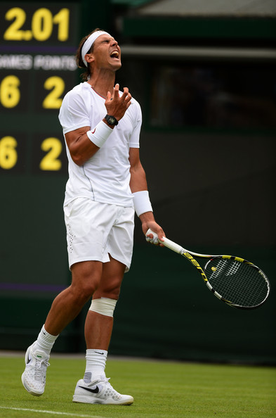 Rafael Nadal during his first round to Darcis (Wimbledon 2013)