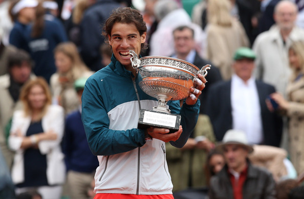 Rafael Nadal with his French Open Trophy 2013