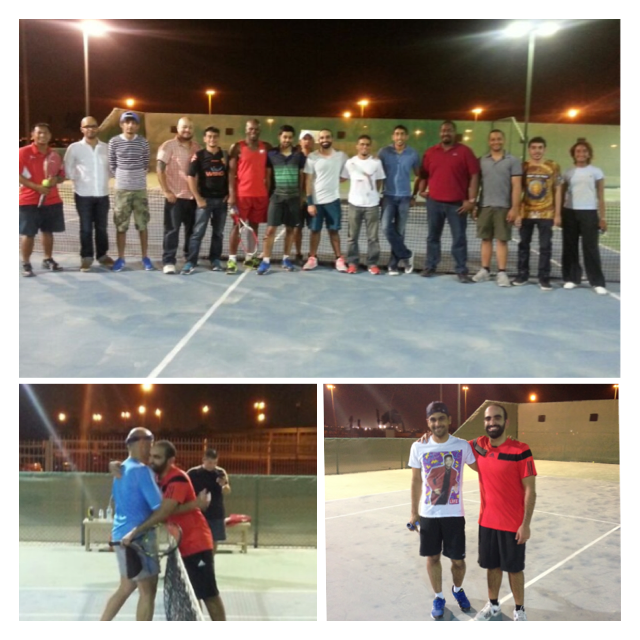 With my beloved team (top) and below from my opening match with Wael (left) and finalist Mo Gaith during practice (bottom right)
