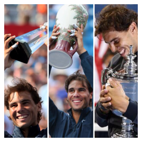 Again, again and Again Nadal with his Cincinnati,Montreal and US Open Trophies